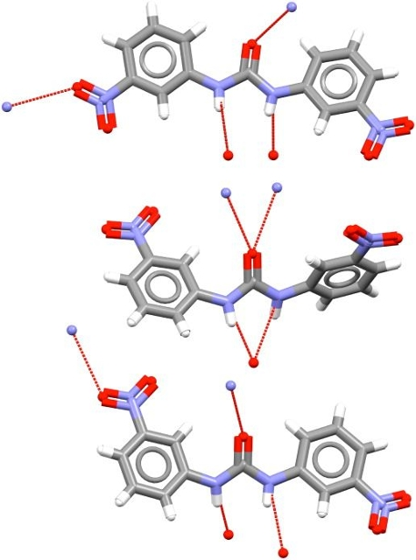 Conformations of 1,3-bis(m-nitrophenyl)urea as found in three different polymorphs.
